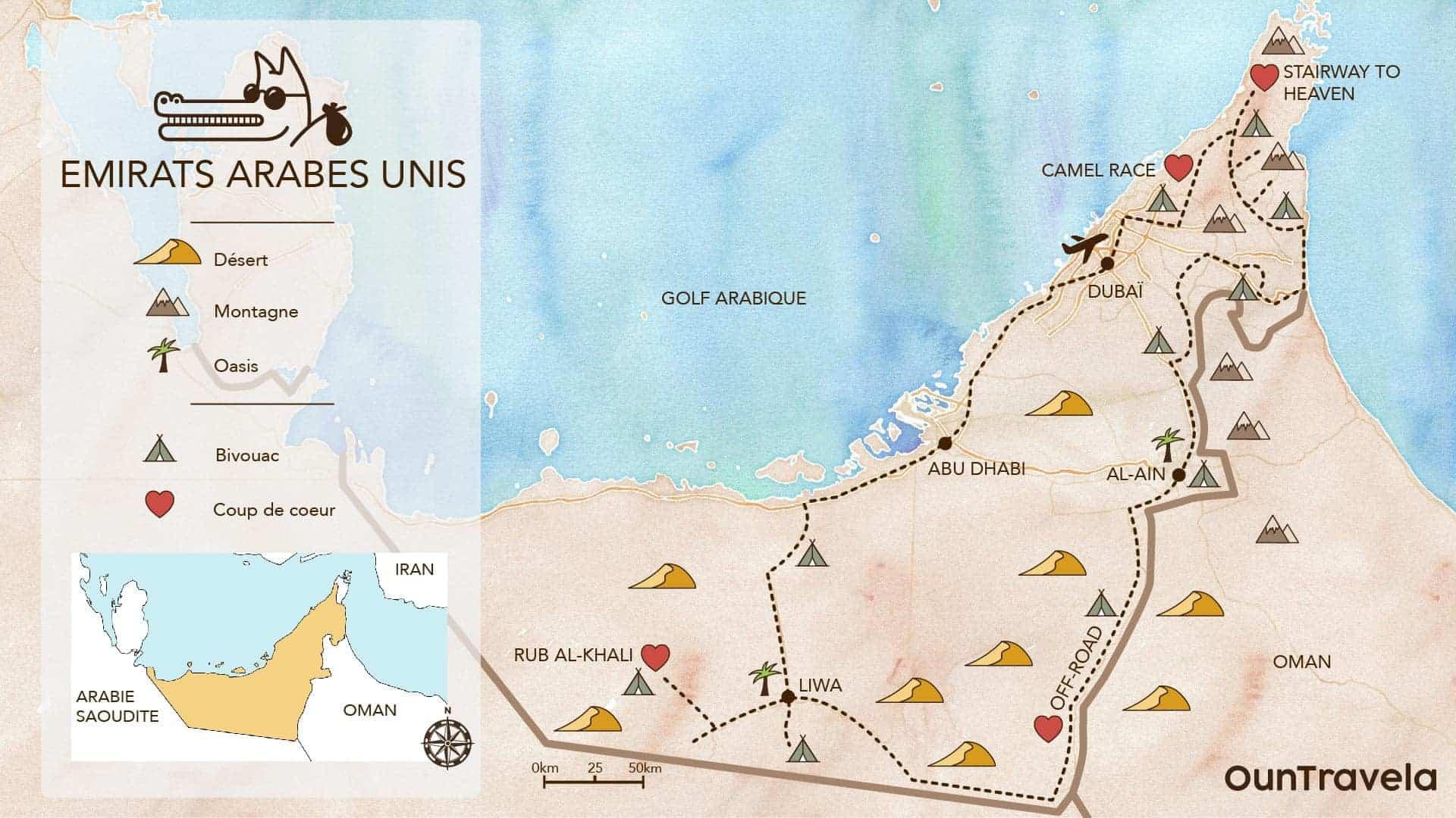 UAE off-road : carte itineraire 4x4 moto emirats arabes unis Ountravela et traces GPS spots bivouac