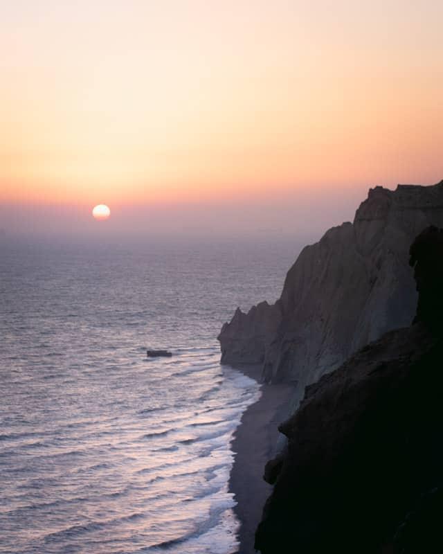 coucher de soleil sur l'île de Hormuz