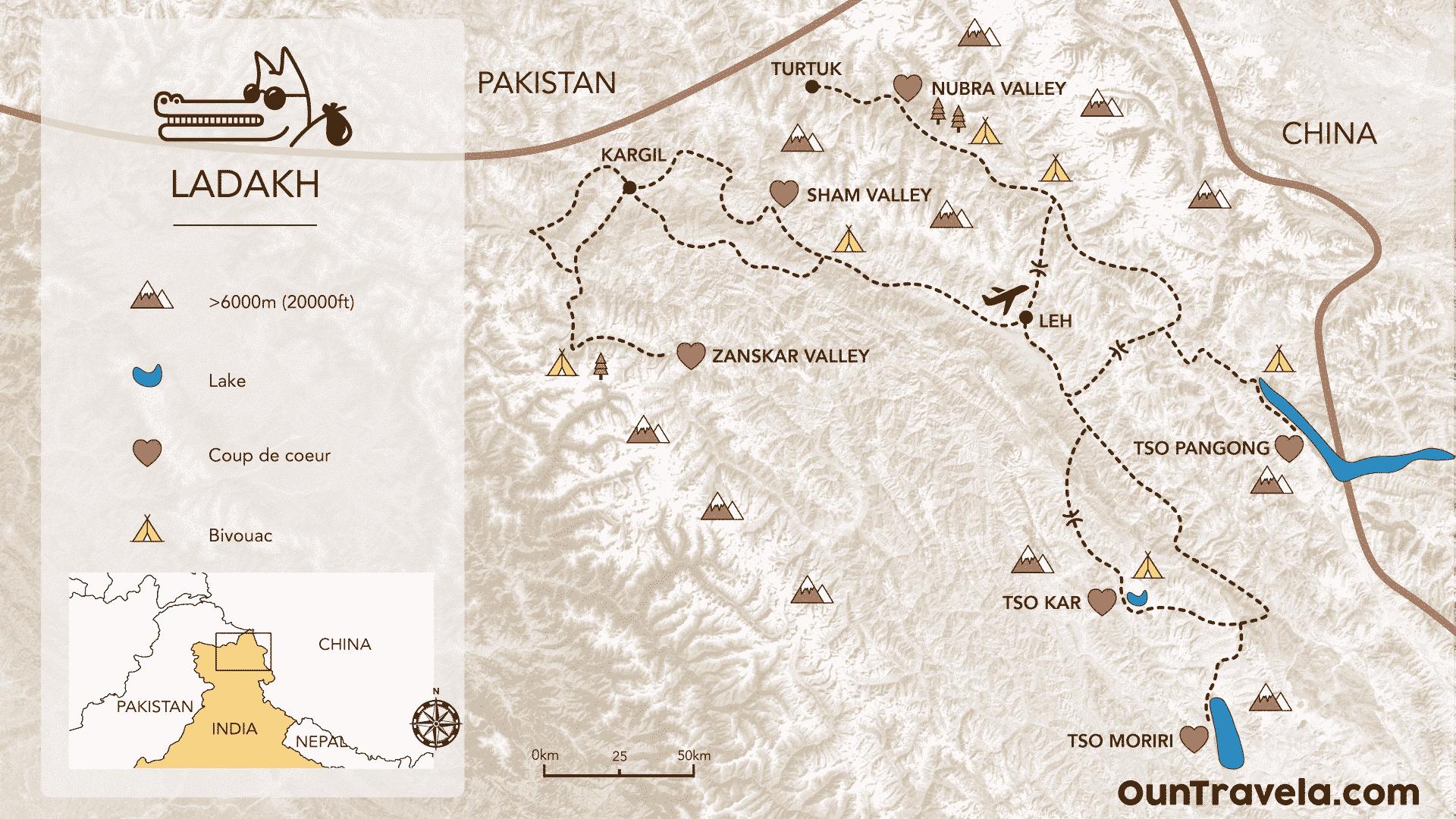 Map Ladakh india moto Royal Enfield : zanskar nubra pangong moriri