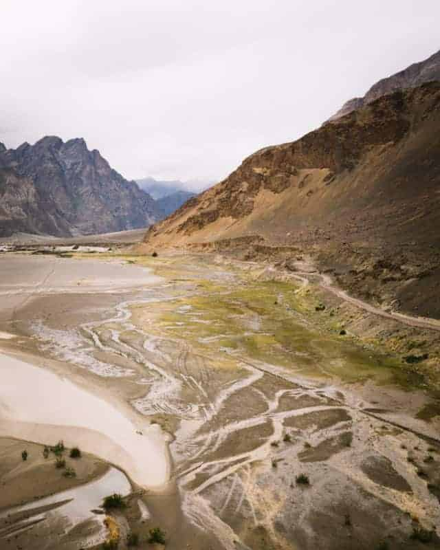 Drone photo nubra vallée au Ladakh