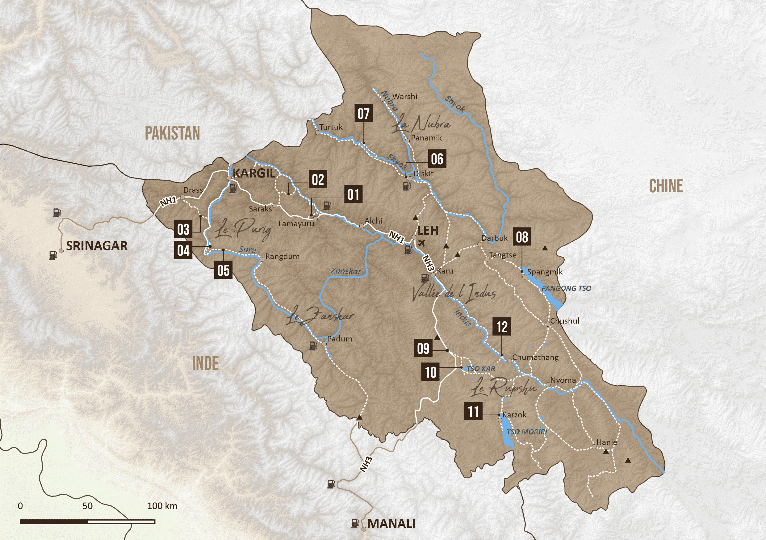 Carte map GPS Ladakh moto 4x4 off road