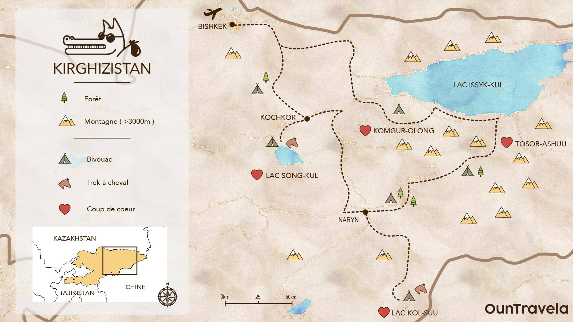 Off road 4x4 map of Kyrgyzstan overland bivouac spot point of view