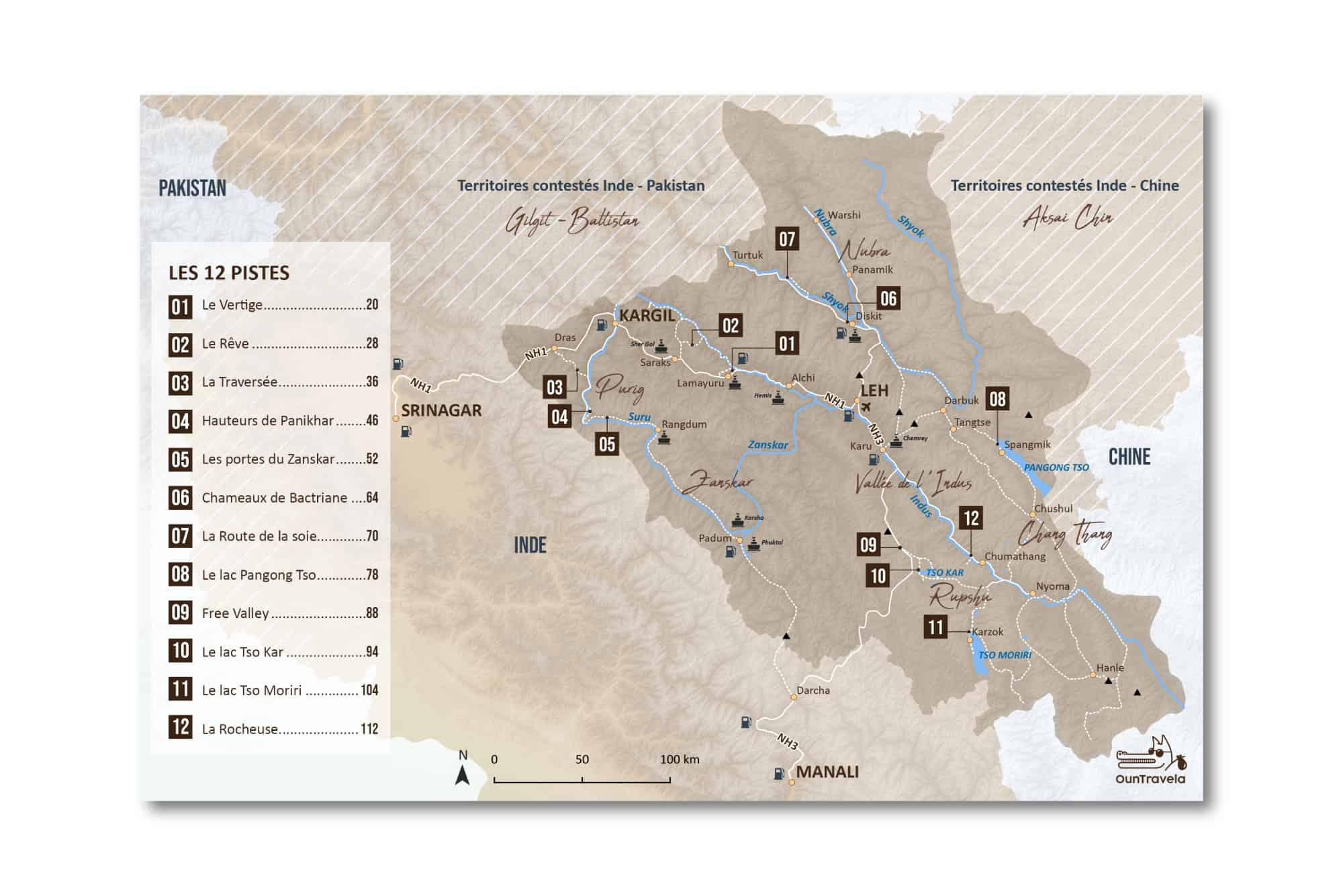routes et pistes du Kirghizistan sur une carte topographique. Tous les sites touristiques indiqués